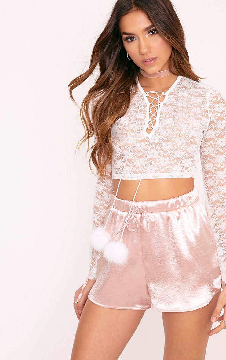 Izobell White Lace Pom Pom Top