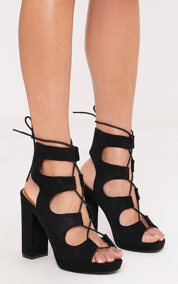 Carlia Black Platform Gladiator Heels