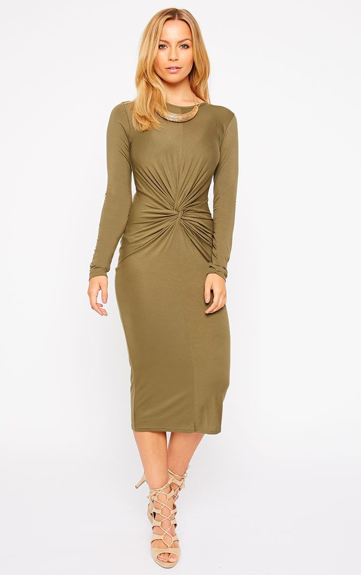 Kenna Khaki Knot Front Midi Dress 1