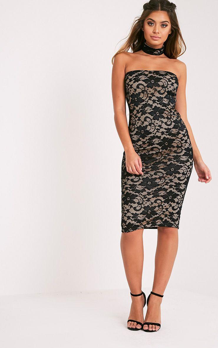 Penilla Black Lace Choker Bandeau Midi Dress