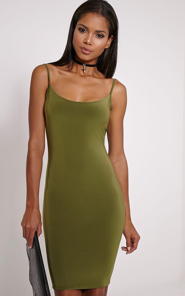 Zameen Olive Ruched Back Slinky Midi Dress 1