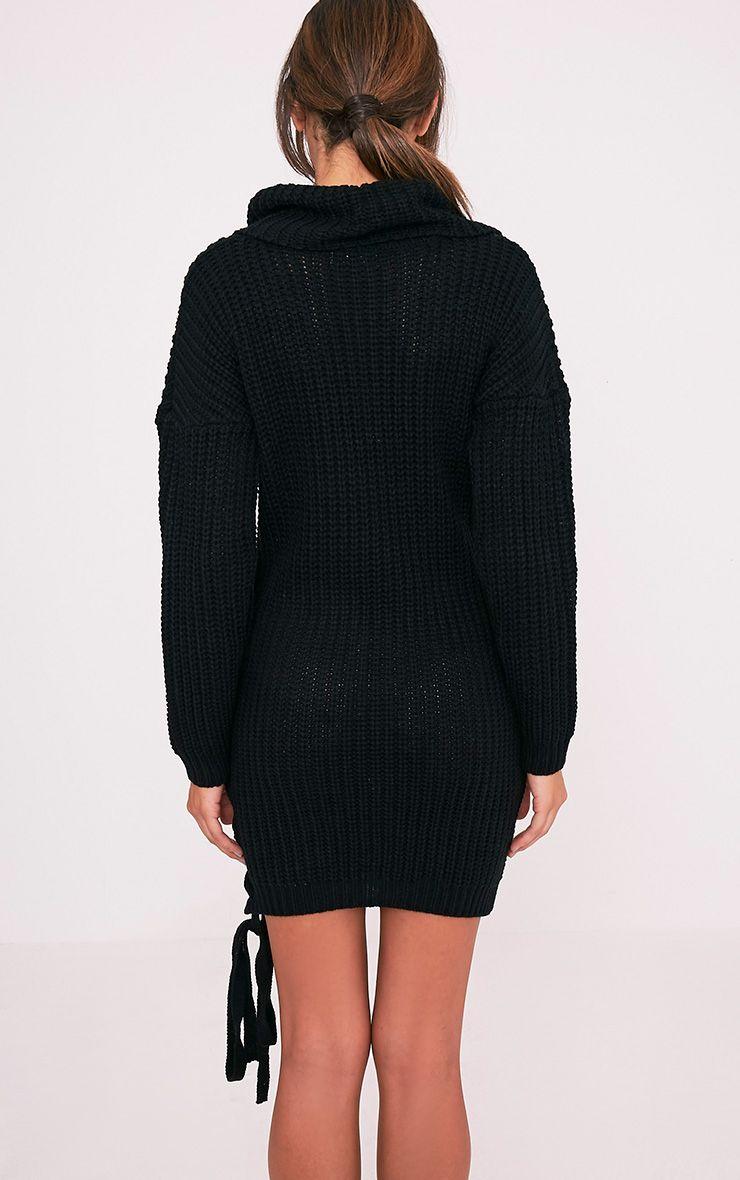 Millia pull surdimensionné noir à col roulé et lacets sur le côté 2