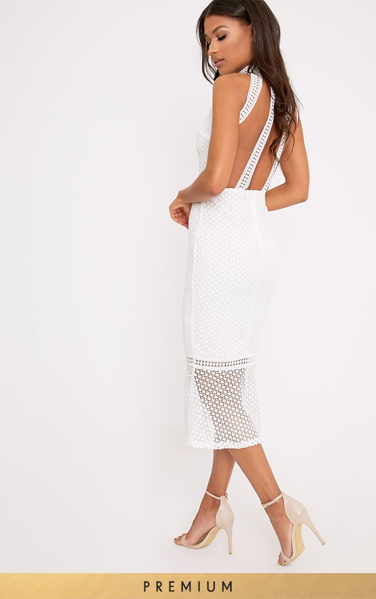 Kymmie White Lace High Neck Midi Dress