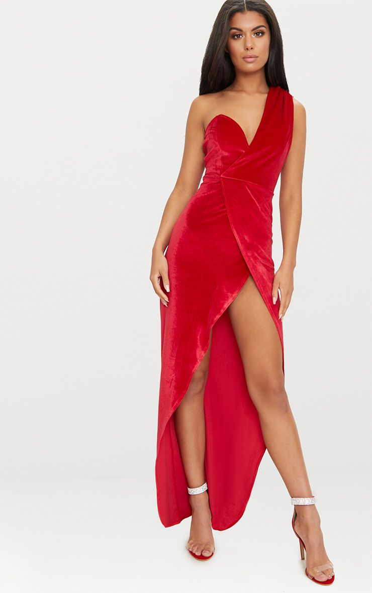 Red Velvet Wrap One Shoulder Extreme Split Maxi Dress