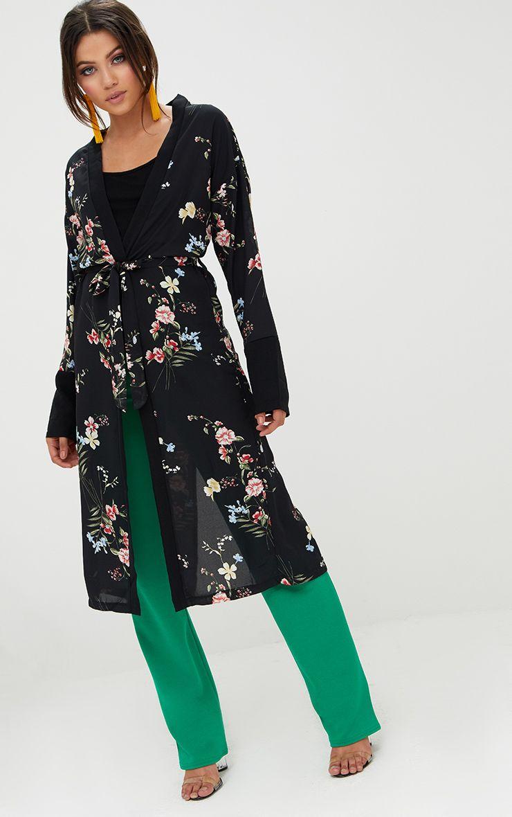 Oriental Floral Print Black Kimono