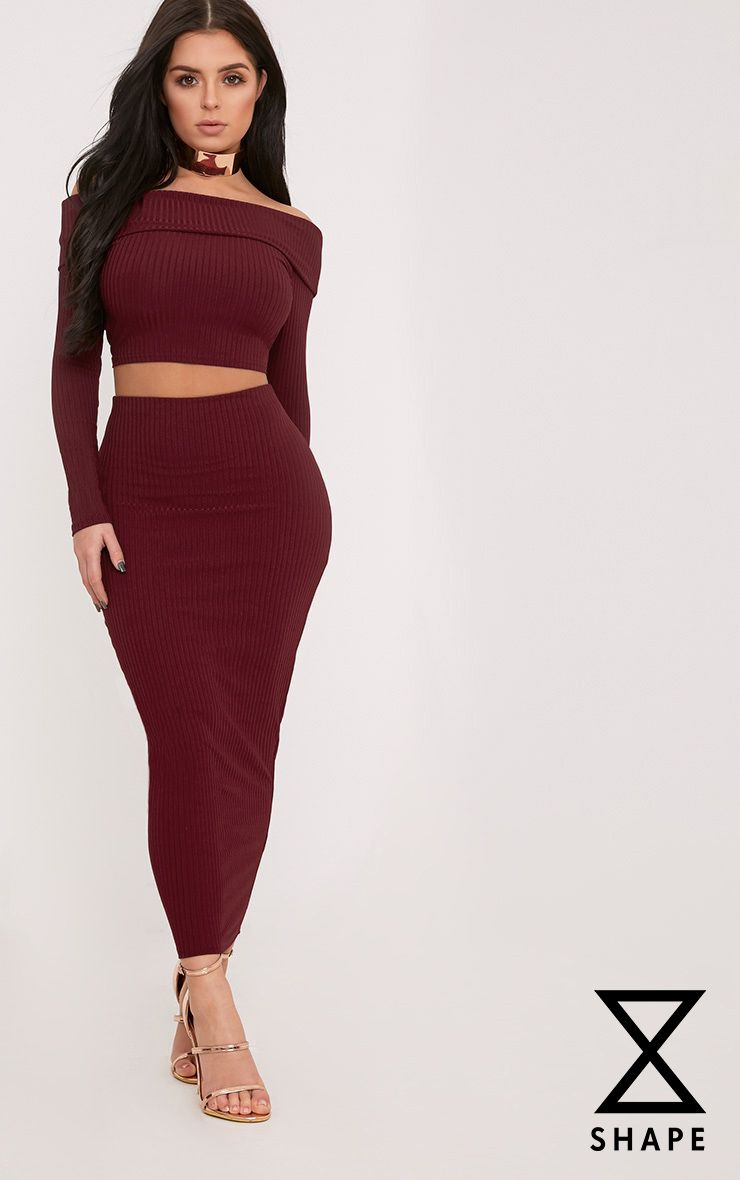 Shape Anika Burgundy Ribbed Midi Skirt  1