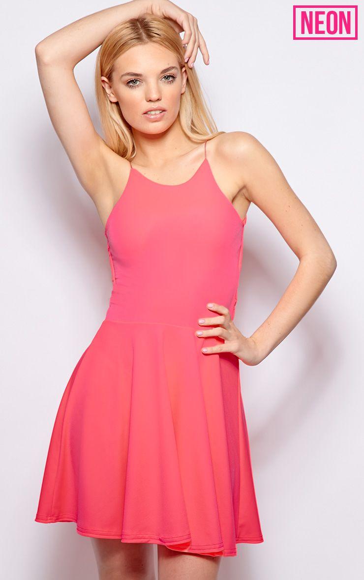 Robin Neon Pink Strappy Skater Dress 1