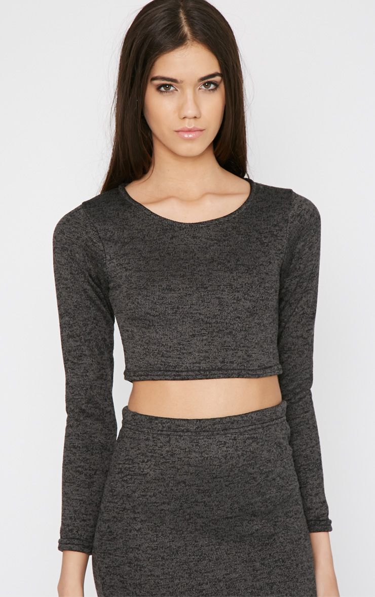 Bridie Grey Knitted Crop Top  1