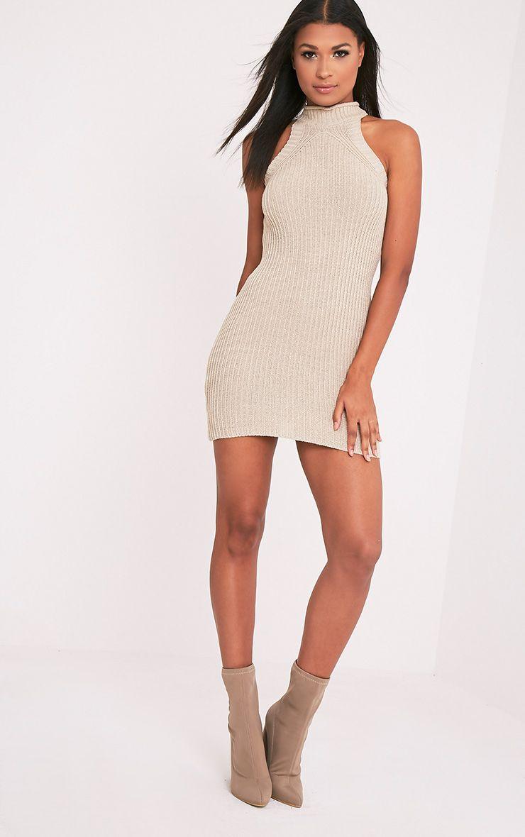 Nadalae robe mini sans manches col montant tricotée gris pierre 5