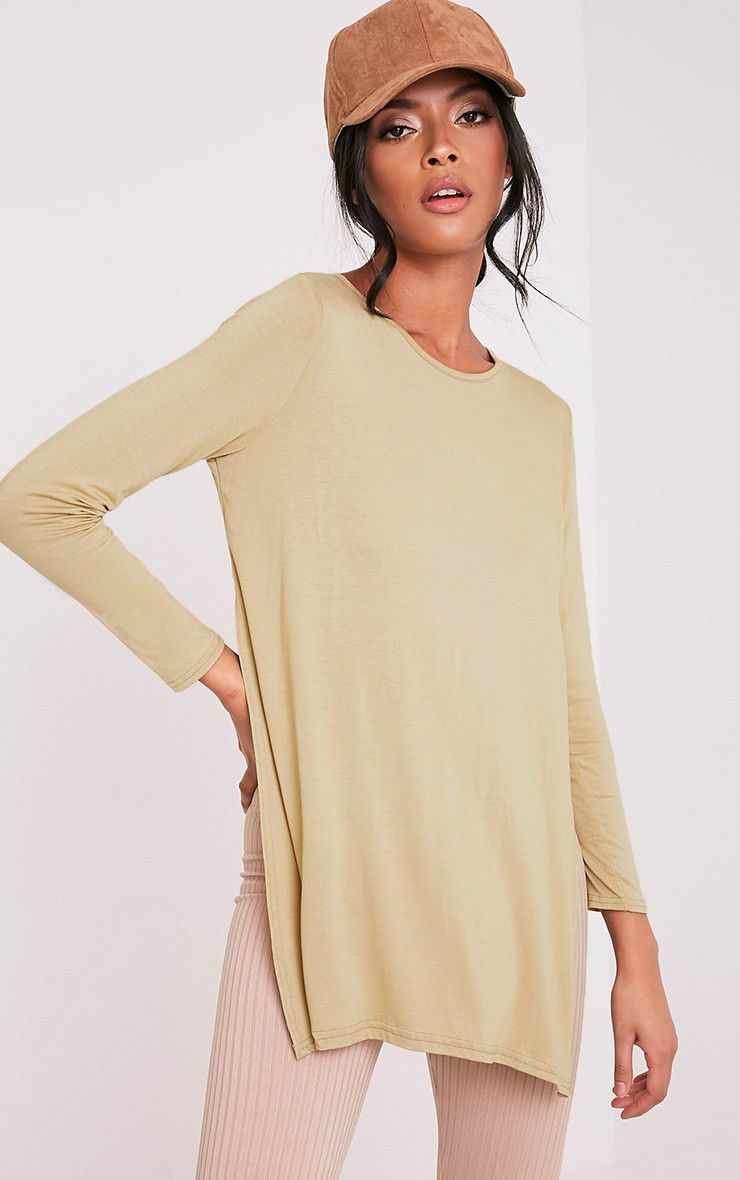 Basic Pale Khaki Longsleeve Side Split Top 4