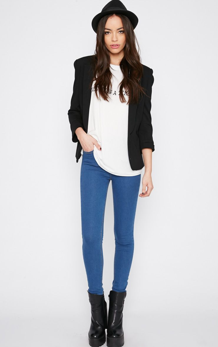 Lowri Mid Wash Rolled Up High Waist Skinny Jean  1