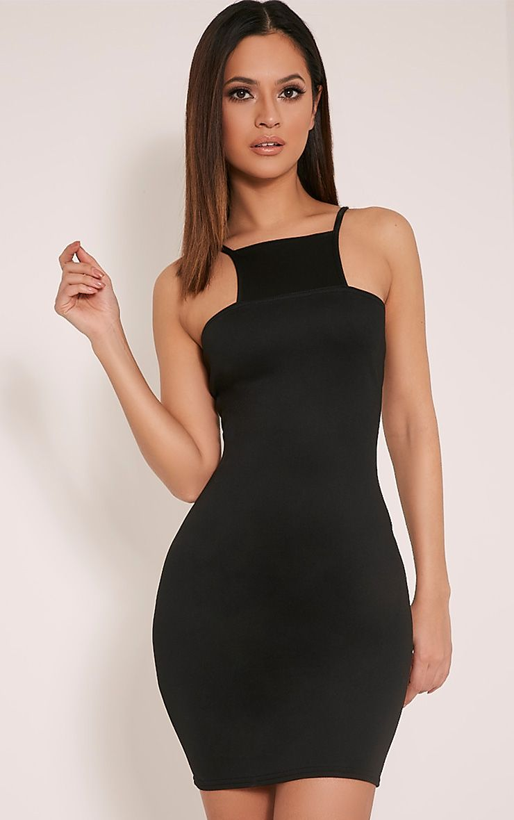 Whitley Black Square Neck Bodycon Dress 1