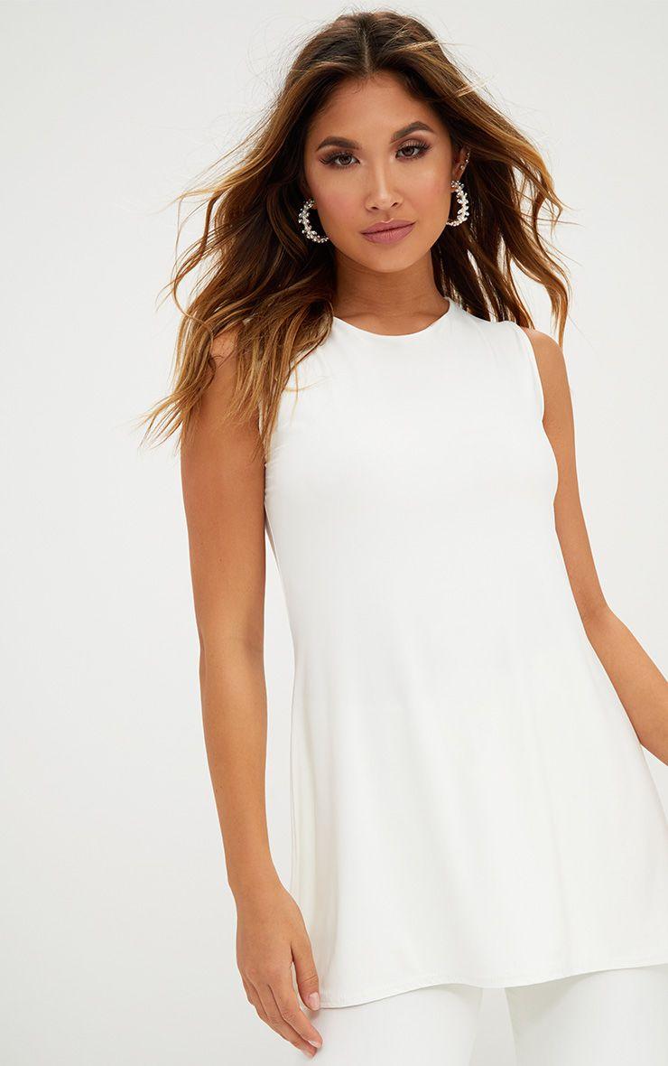 Cream Double Layer Slinky Longline Vest Top