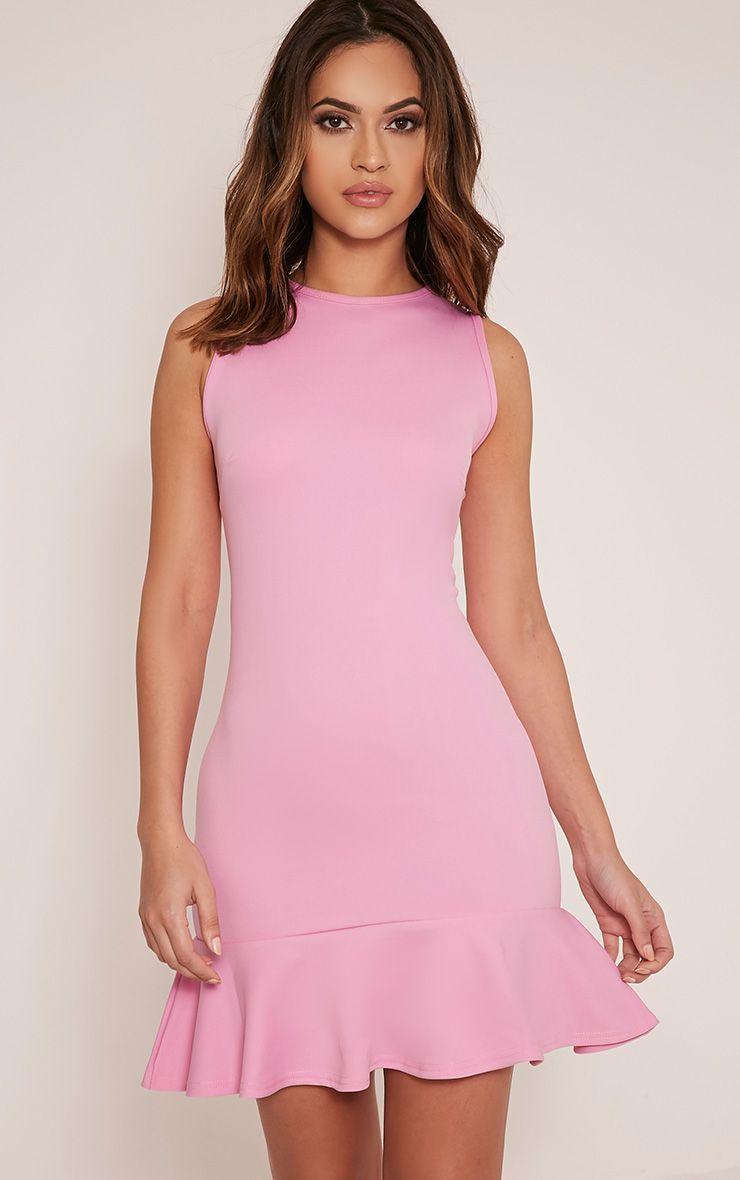 Amanie Bubblegum Pink  Drop Hem Bodycon Dress 1