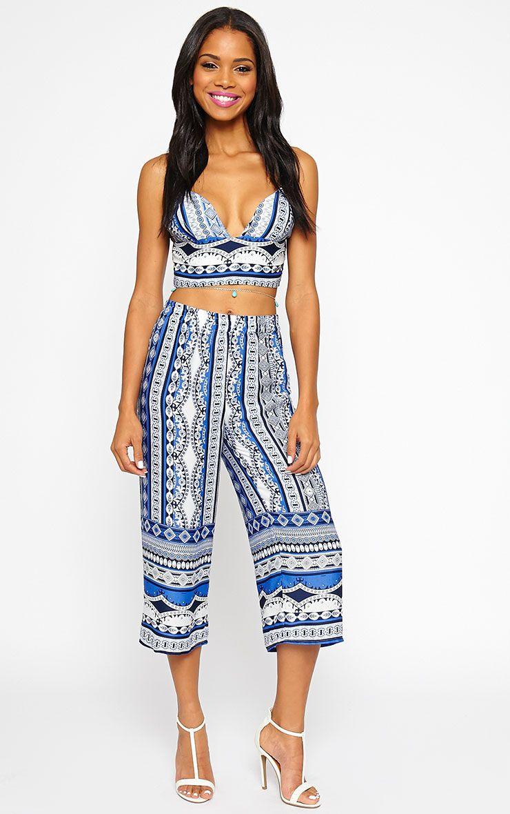 Taylor Blue Printed Trousers 1