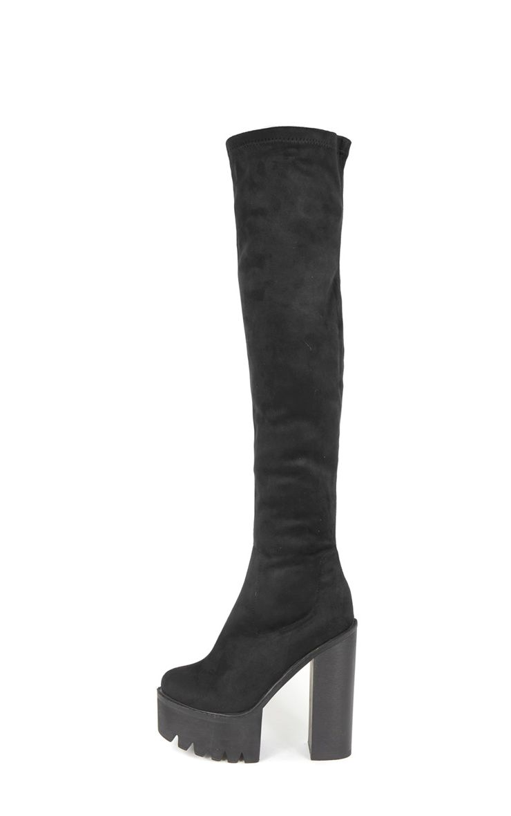 Alessandra Black Cleated Sole Over The Knee Boot 1