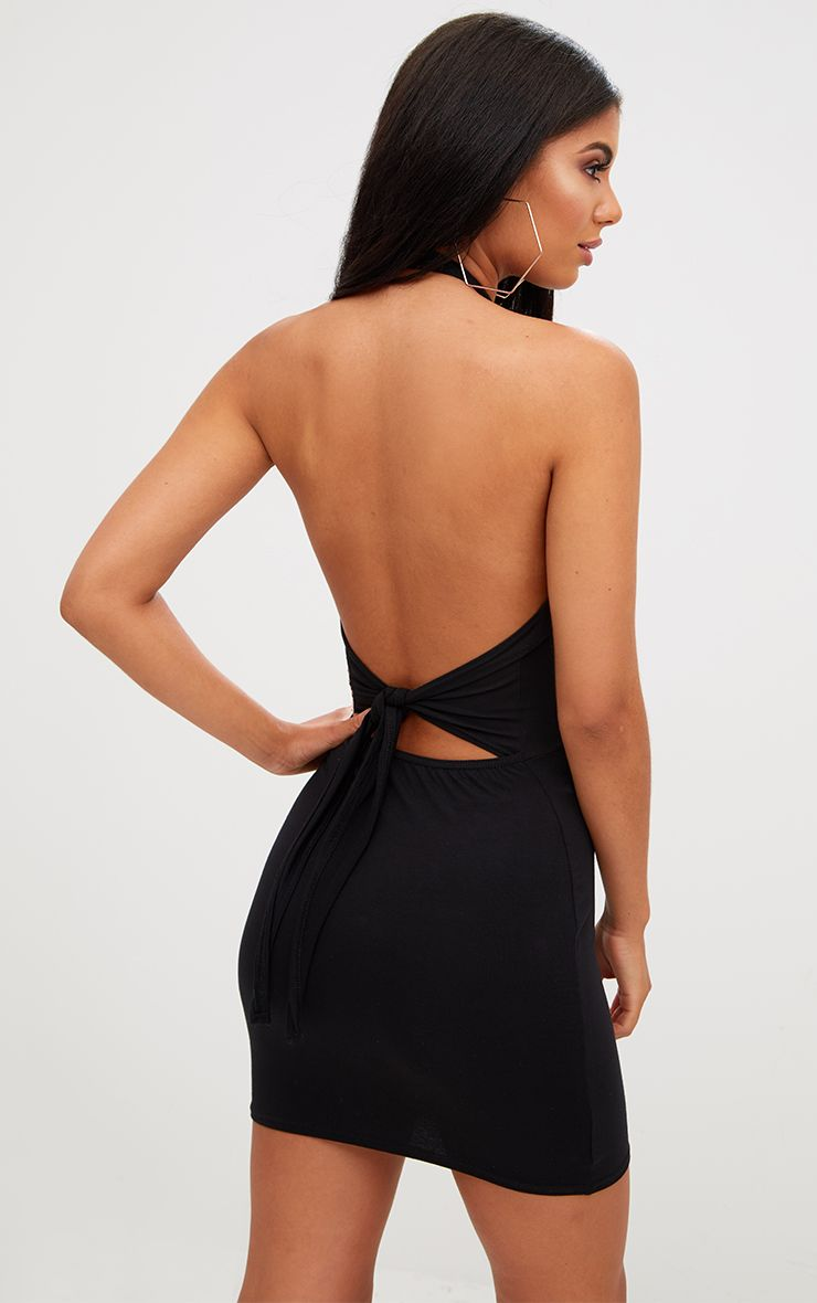 Black High Neck Tie Back Bodycon Dress