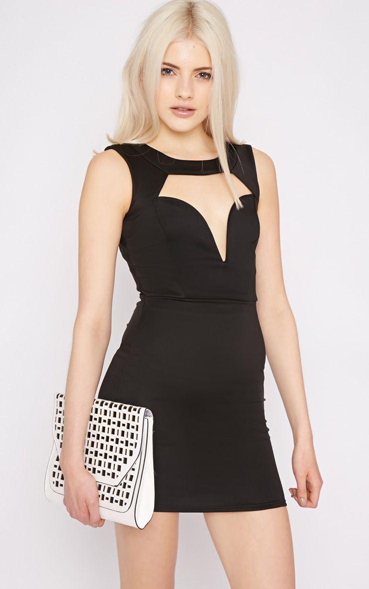 Adeline Black V Front Structured Dress 1