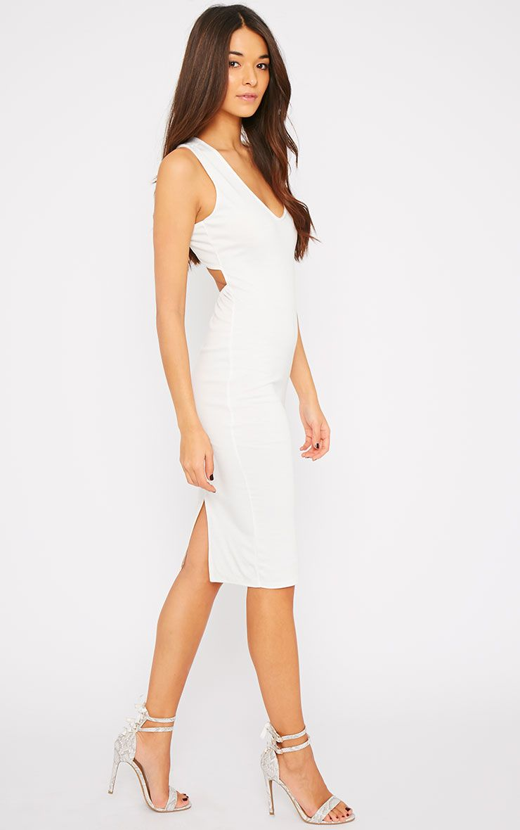 Product photo of Lola cream cross back midi dress white