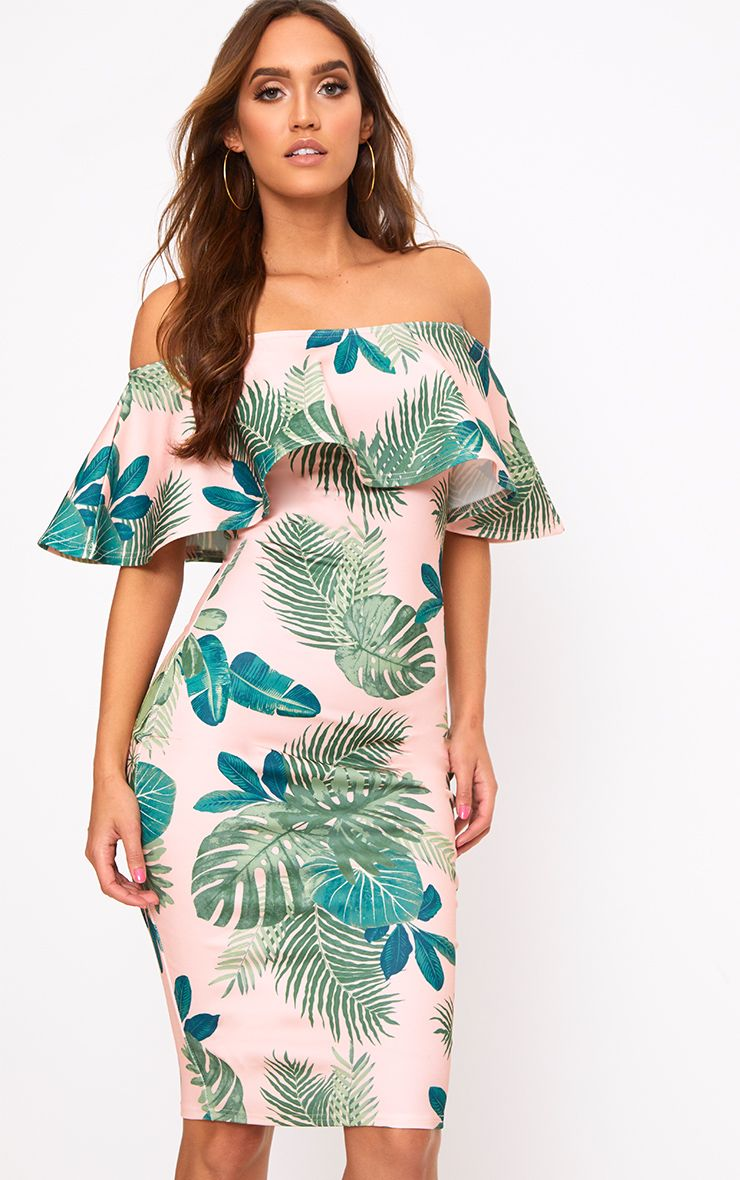 Nude Palm Print Bardot Midi Dress