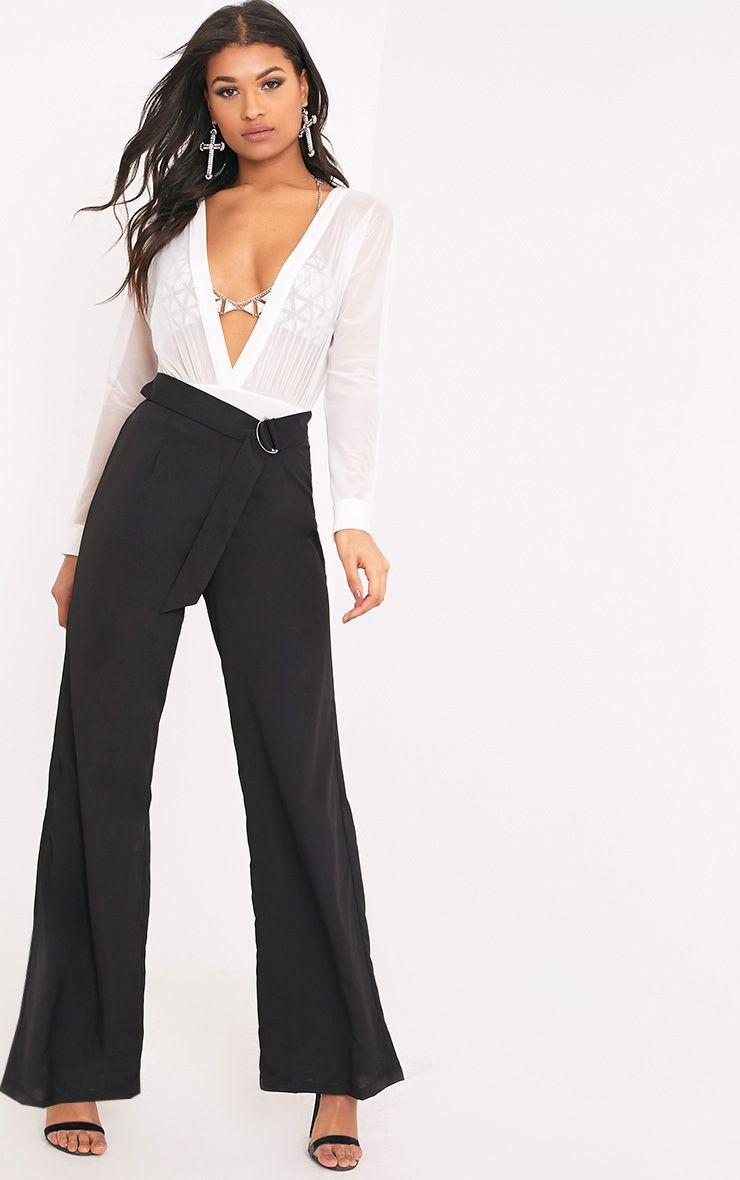 Kenna Black Belted D Ring Trousers