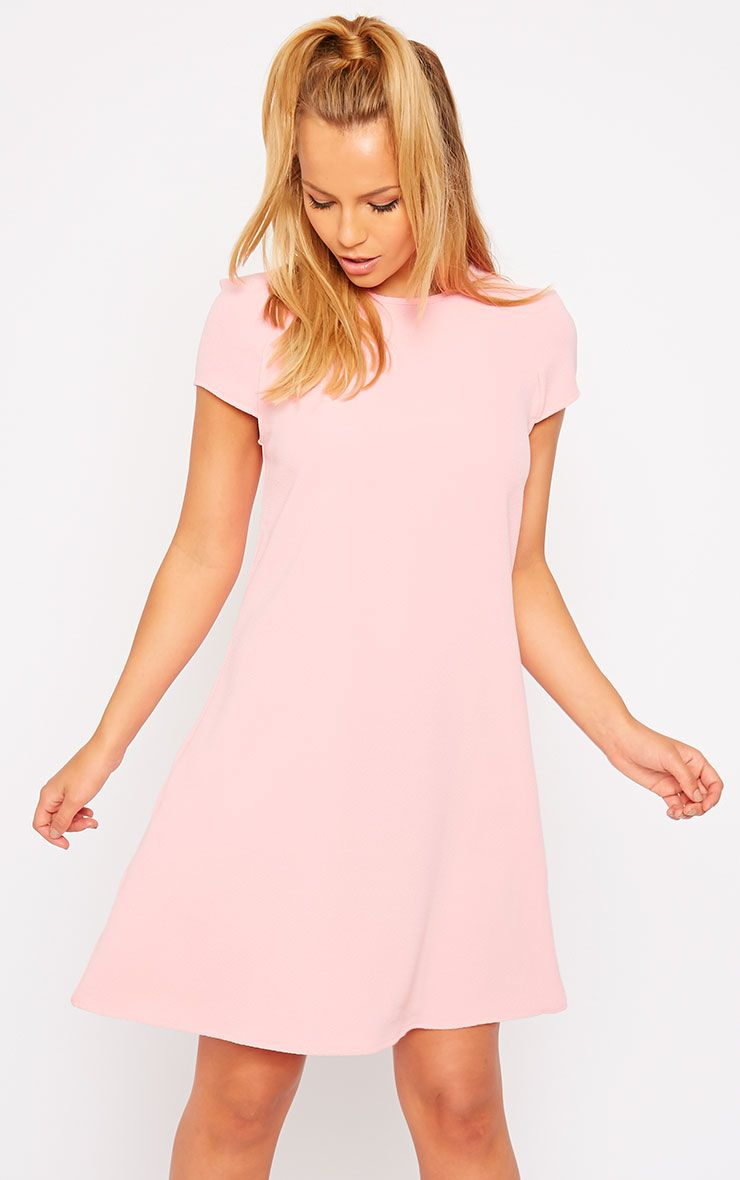 Sabra Pink Waffle Loose Fit Shift Dress 1