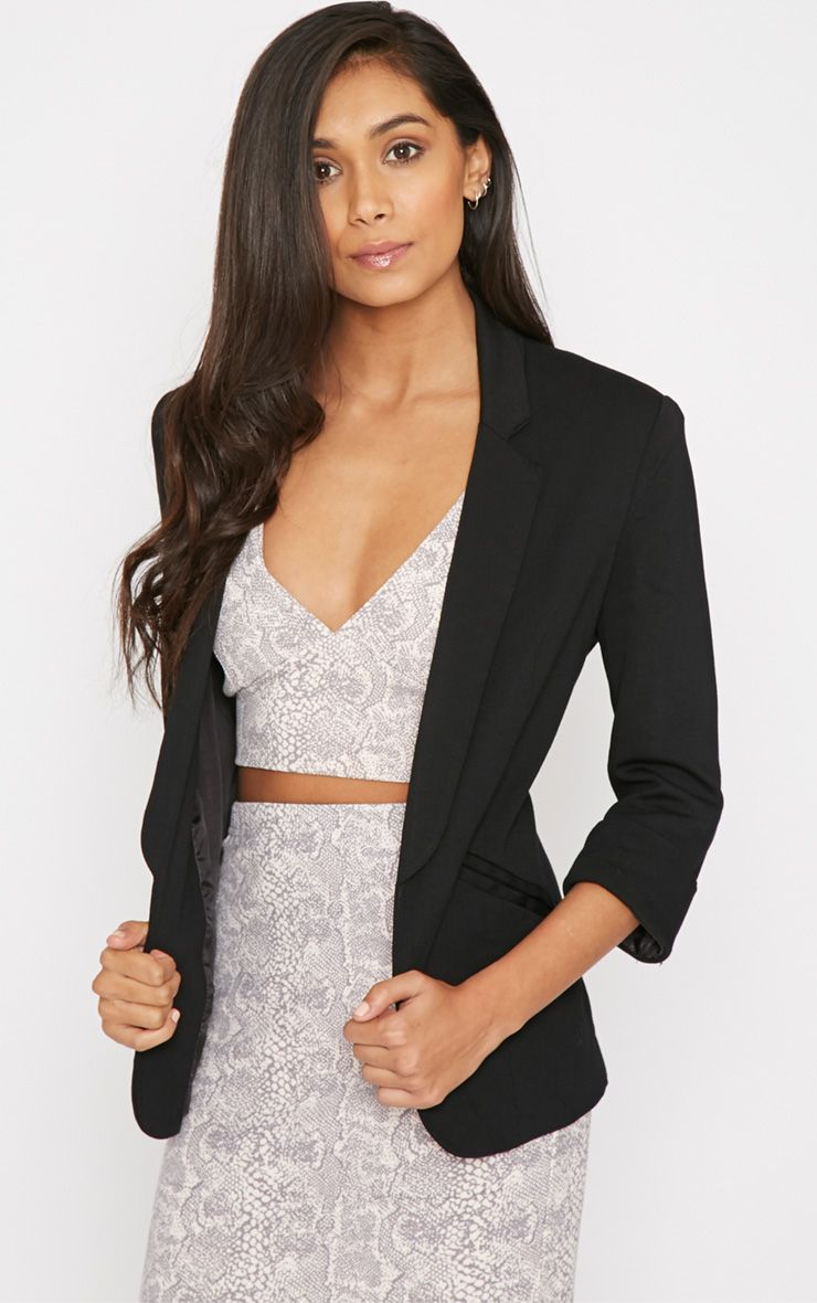 Clara Black Structured Shoulder Blazer 1
