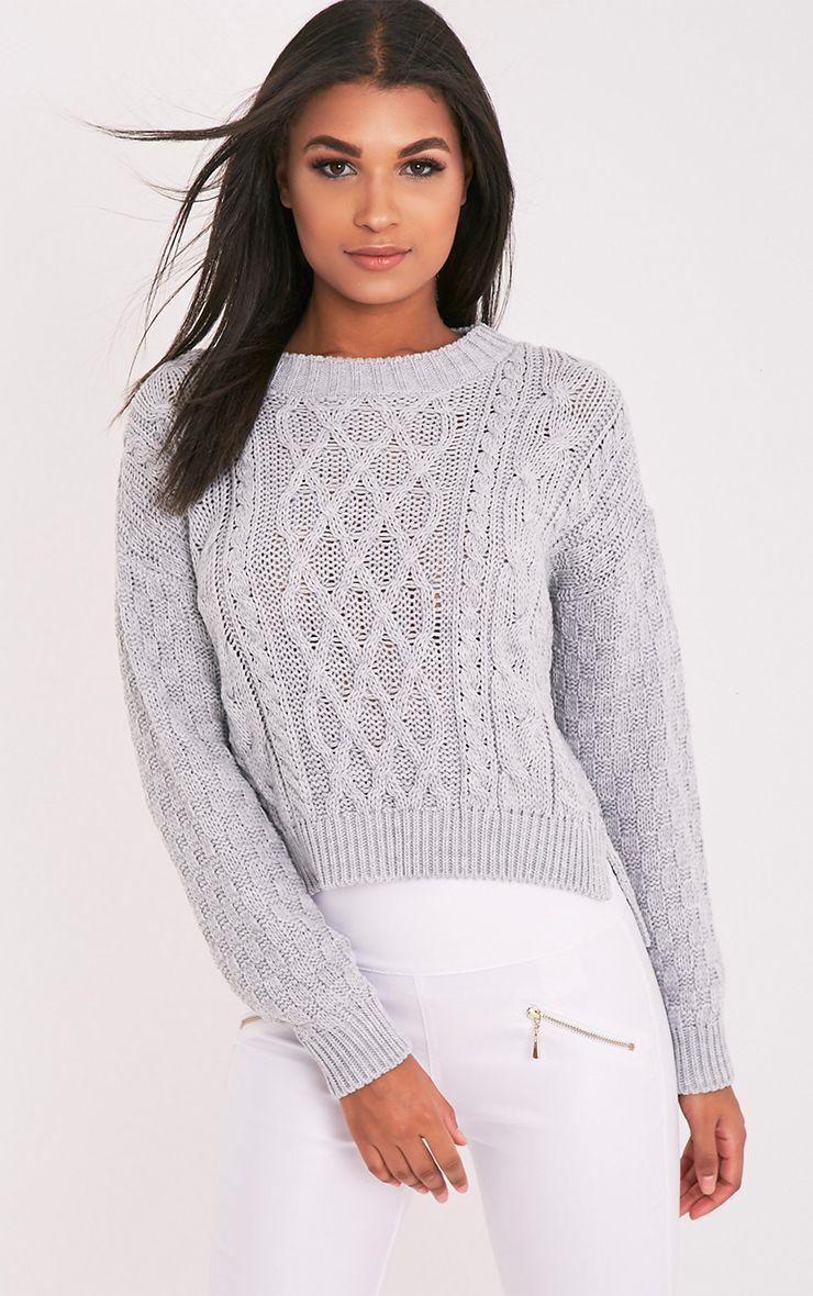 Chyanna pull gris tricoté torsadé 1