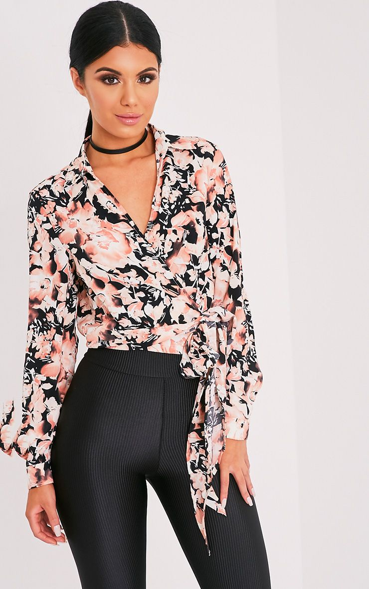 Avalyn Pink Floral Print Wrap Front Tie Side Blouse