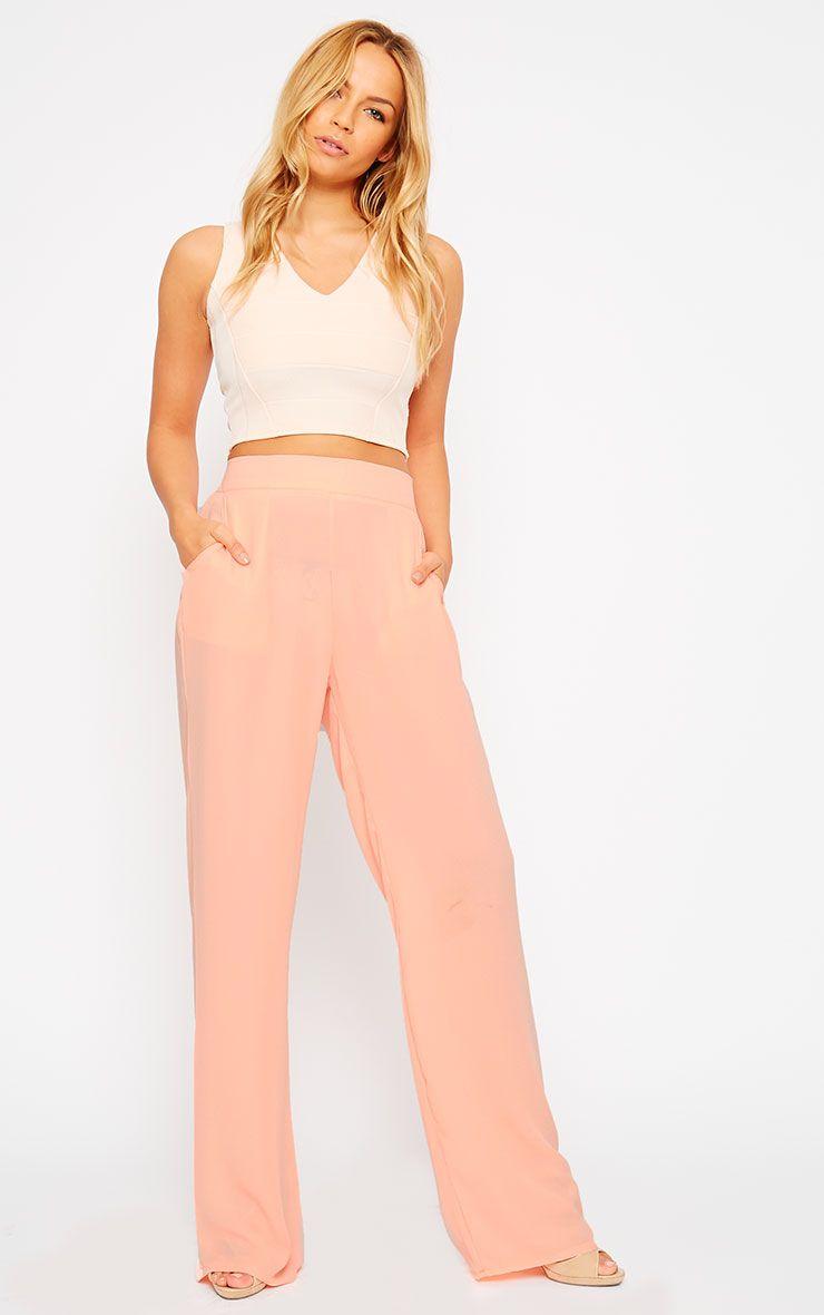 Theadora Peach Chiffon Wide Leg Trousers 1