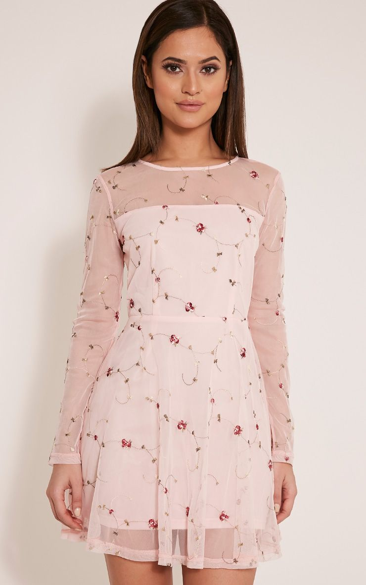 Eena Dusty Pink Embroidered Floral Prom Dress