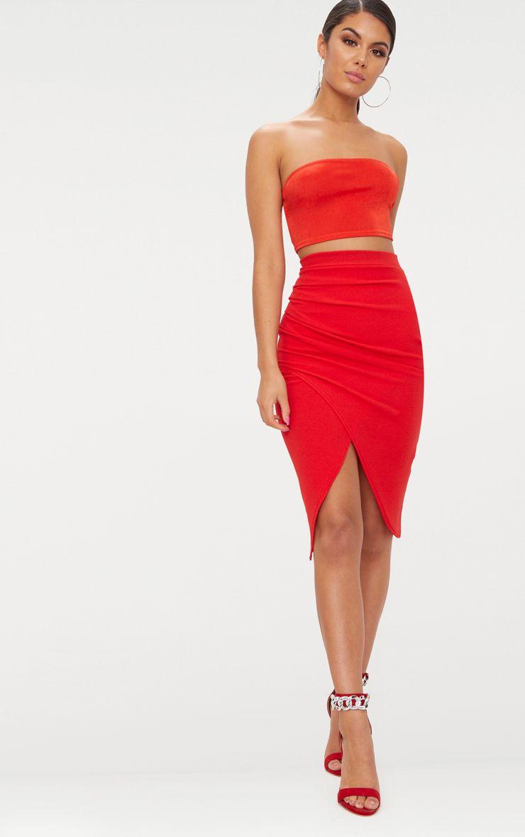 Red Ruche Wrap Midi Skirt