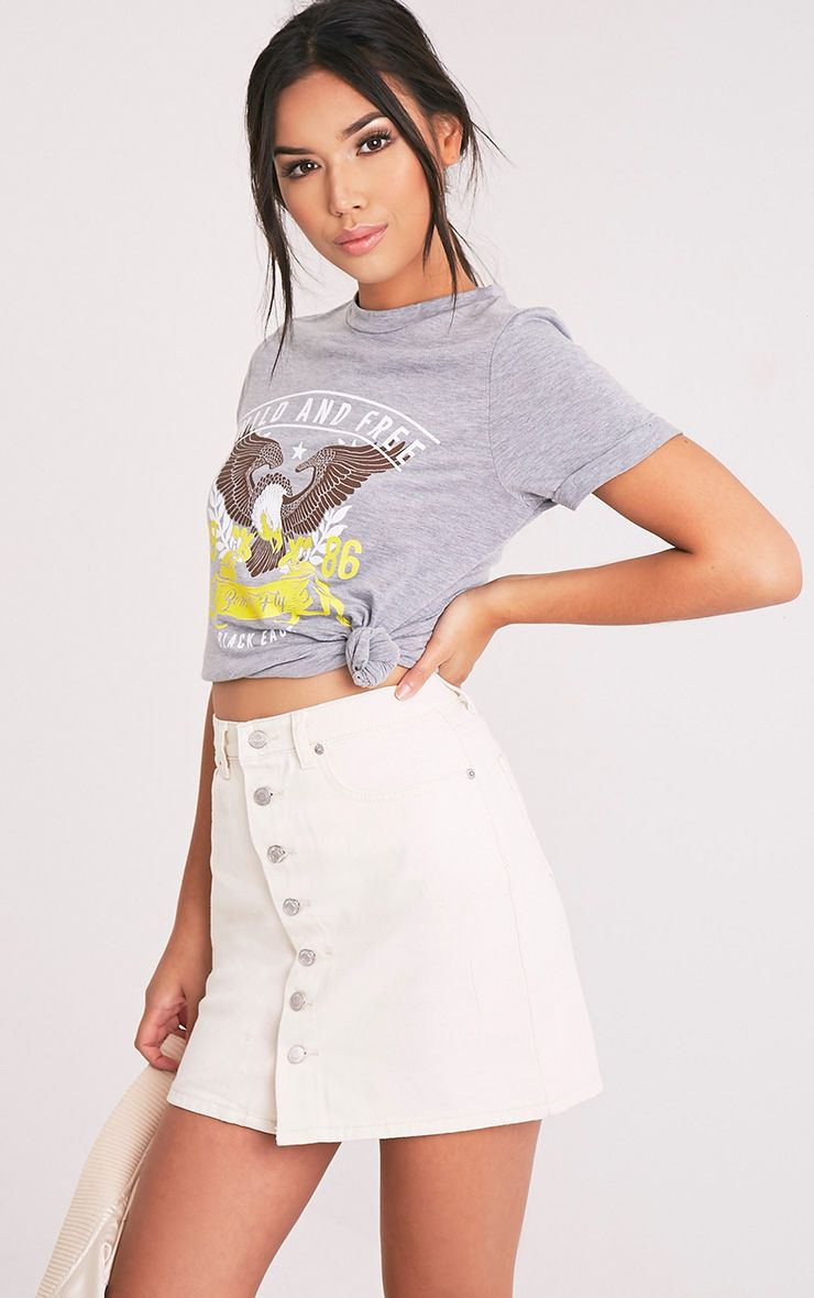 Born To Fly Slogan Grey T Shirt 1