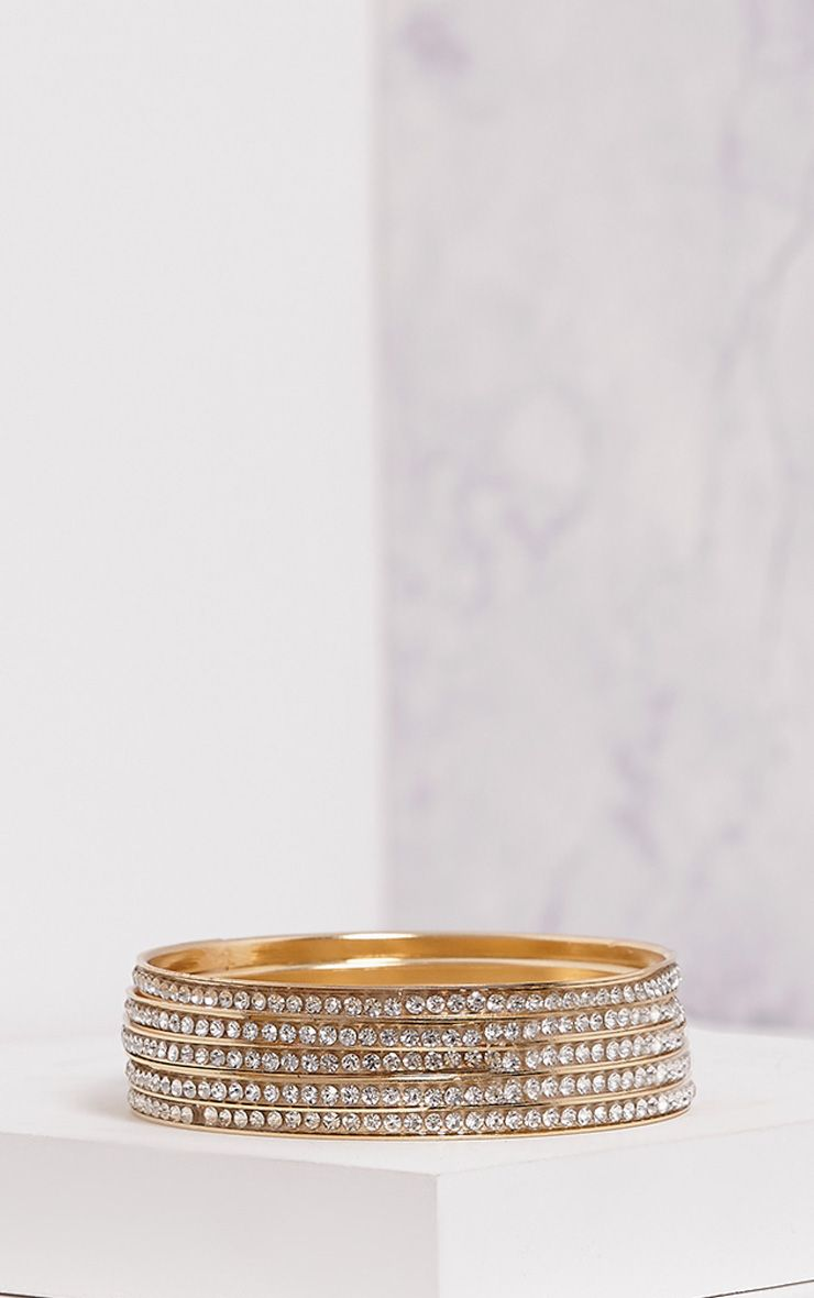 Lunett Gold Diamante Multi Pack Bangles