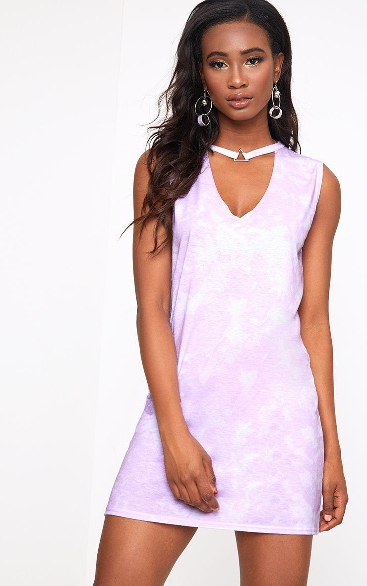 Pink Tie Dye Triangle Trim T Shirt Dress