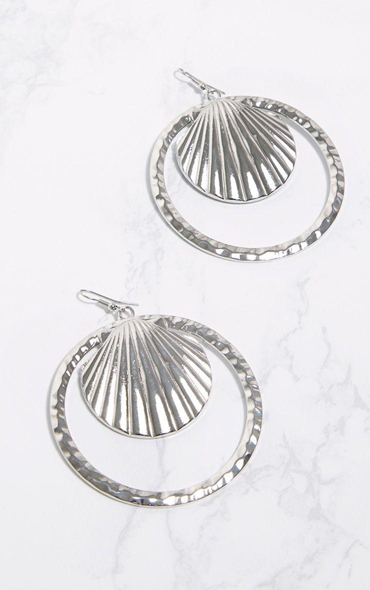 Silver Large Shell Hoop Earrings