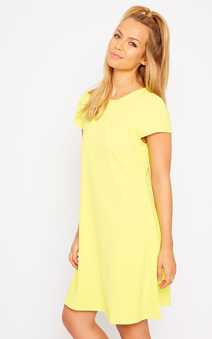 Sabra Yellow Waffle Loose Fit Shift Dress 1