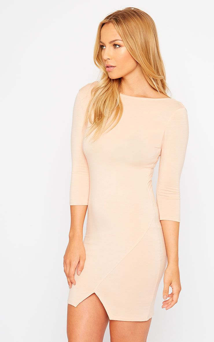 Basic Nude Scoop Back V Hem Dress 1