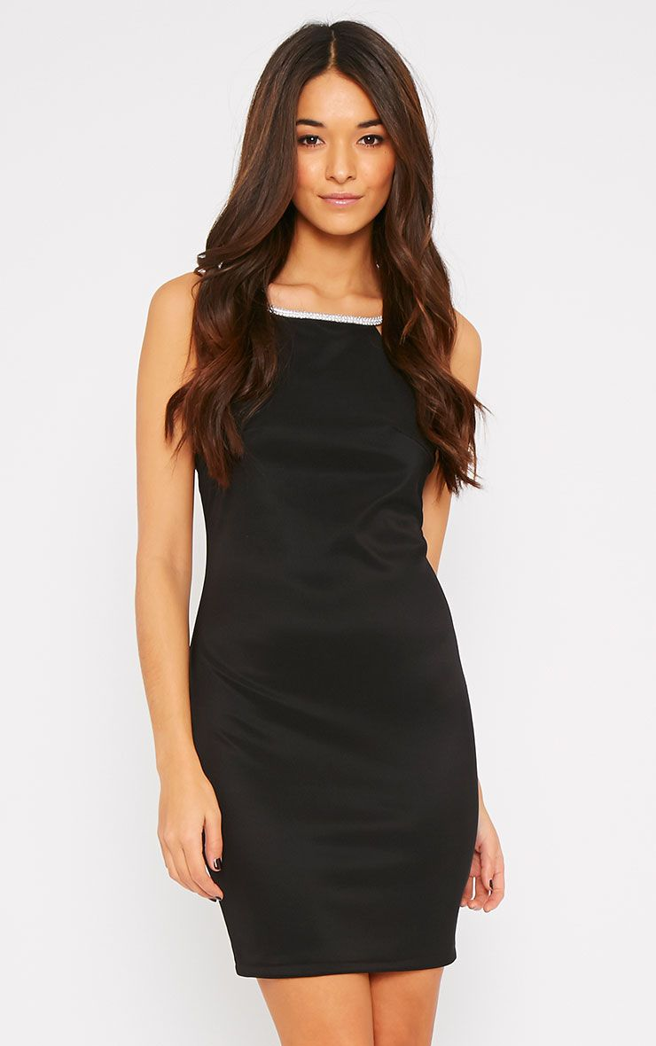 Tara Black Diamante Strap Bodycon Mini Dress 1