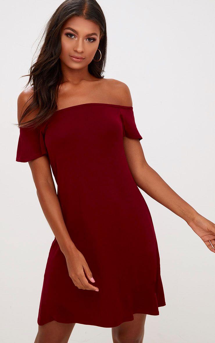 Manina Burgundy Jersey Bardot Shift Dress