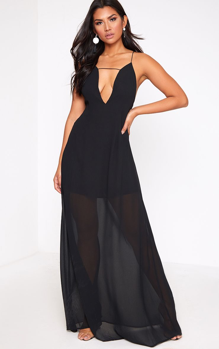 Black Knot Back Maxi Dress