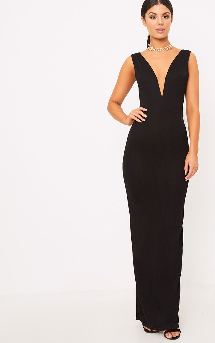 Flossie Black Plunge Maxi Dress