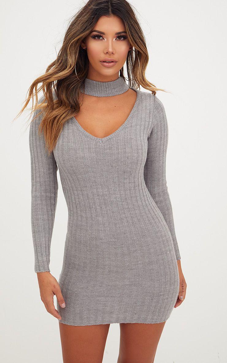Grey Choker Jumper Dress