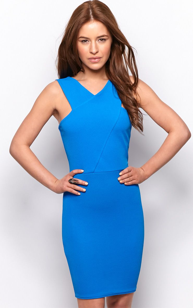 Allina Blue V Detail Bodycon Dress 1