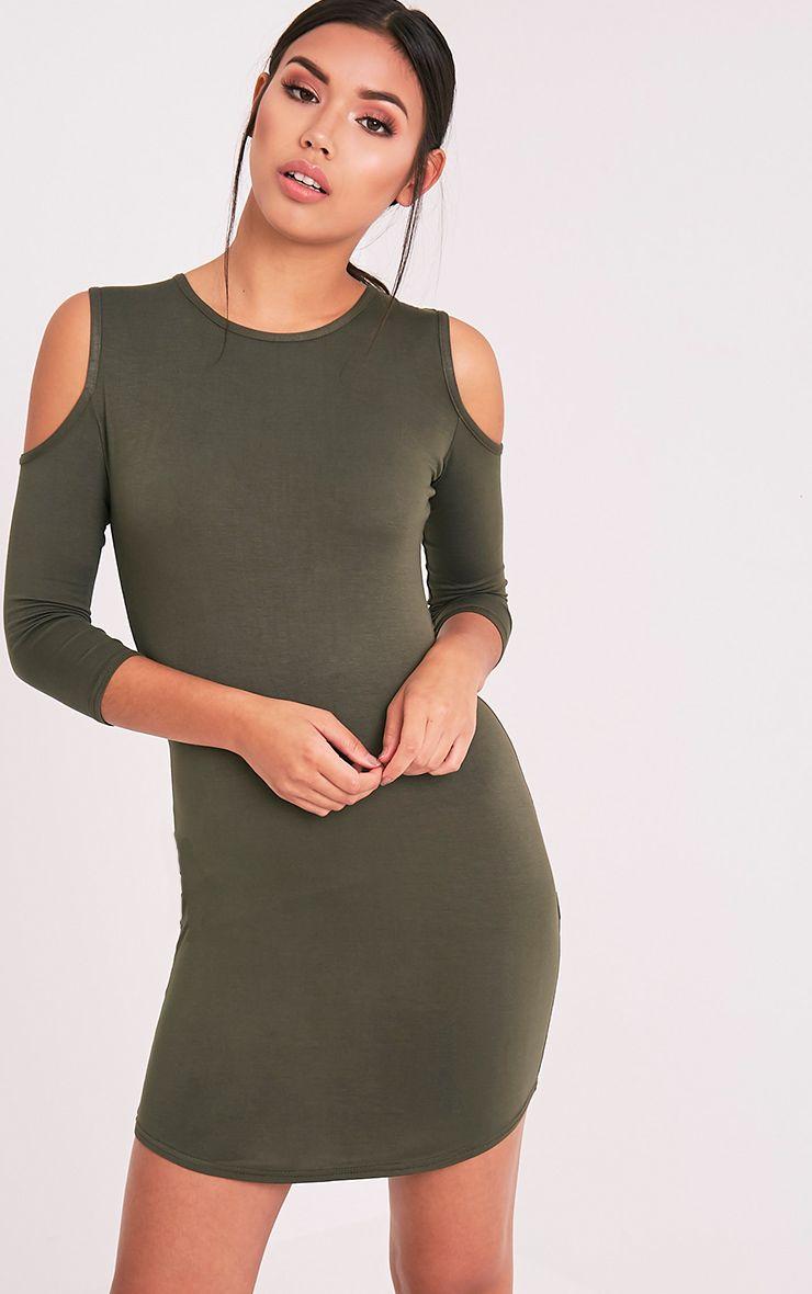 Maysie Khaki Cold Shoulder Curved Hem Bodycon Dress 1