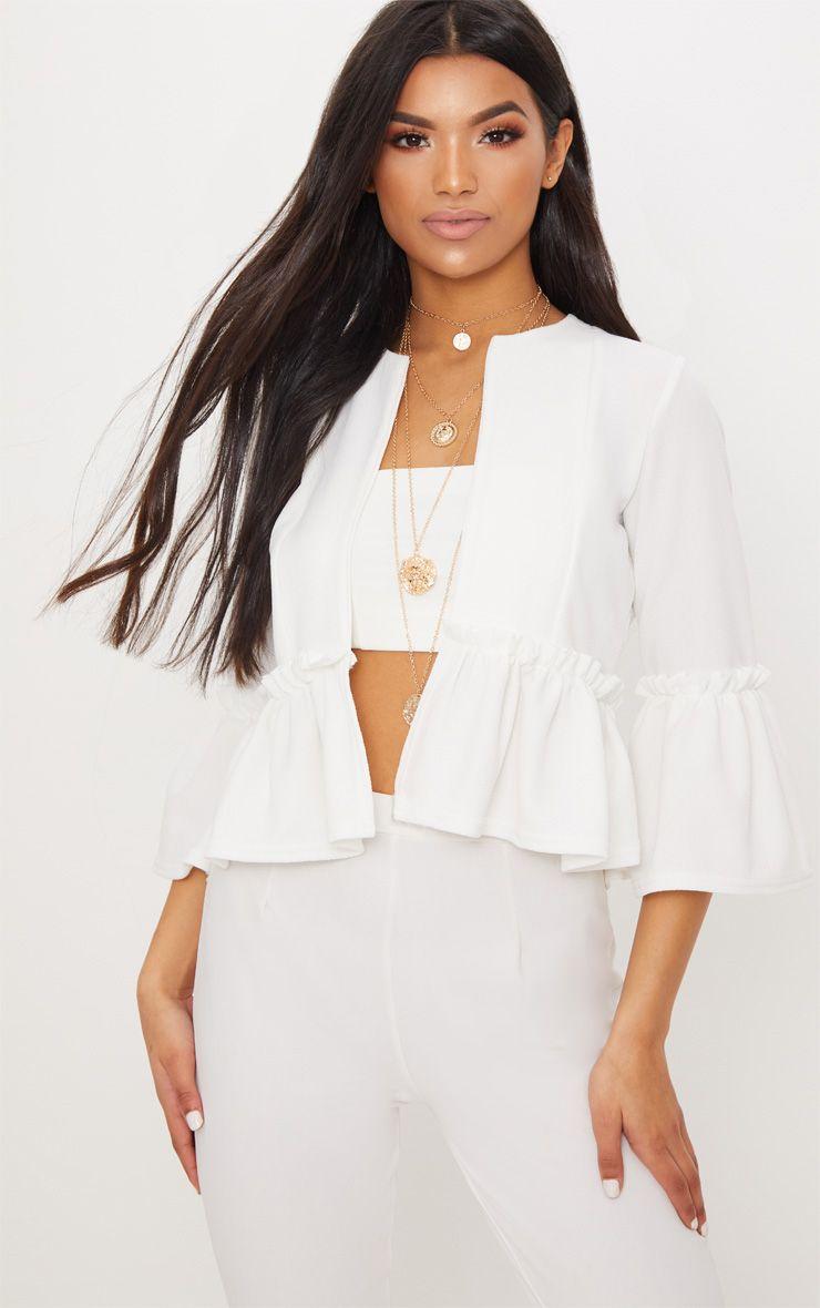 White Frill Sleeve Blazer