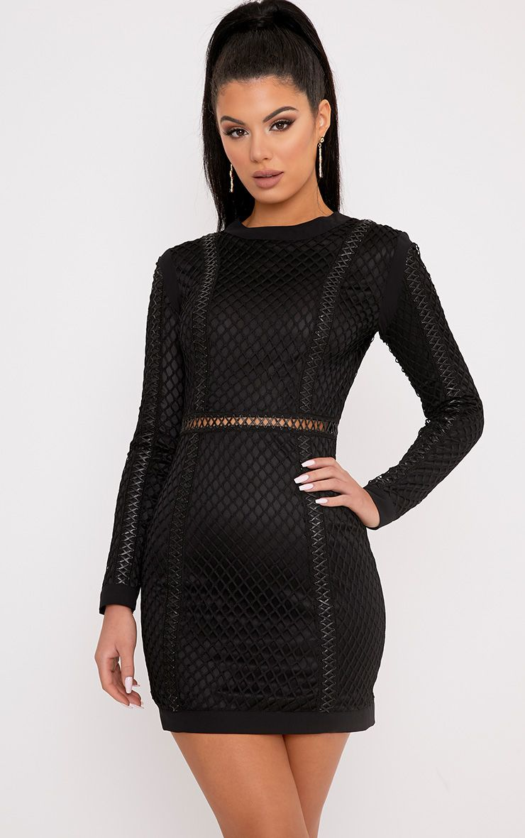 Thea Black Fishnet Panel Bodycon Dress