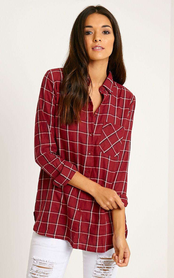 Mariel Wine Checked Shirt 1