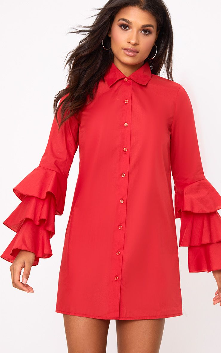 Red Triple Frill Sleeve Shirt Dress
