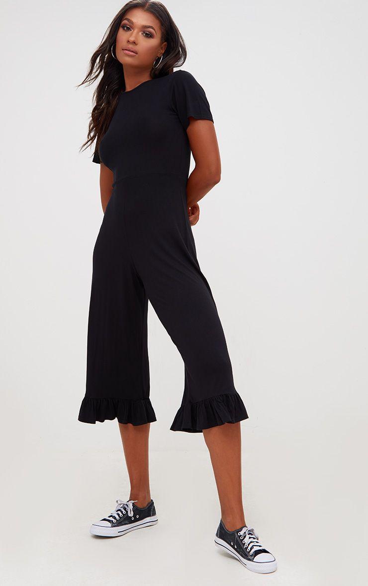 Black Jersey Short Sleeve Frill Hem Culotte Jumpsuit